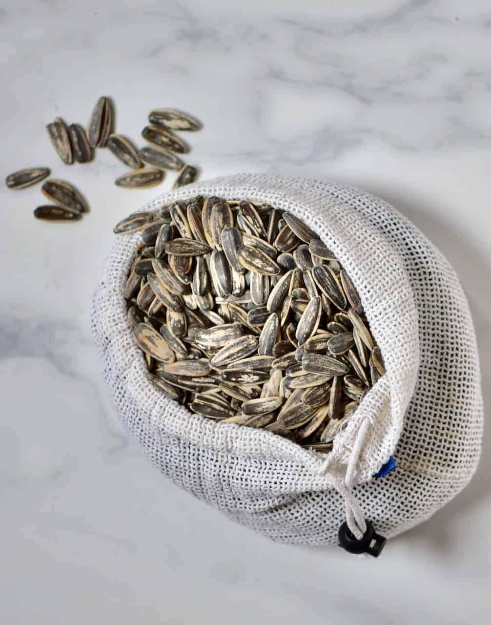sunflower seeds in a sack