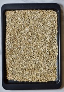 sunflower seeds on a tray