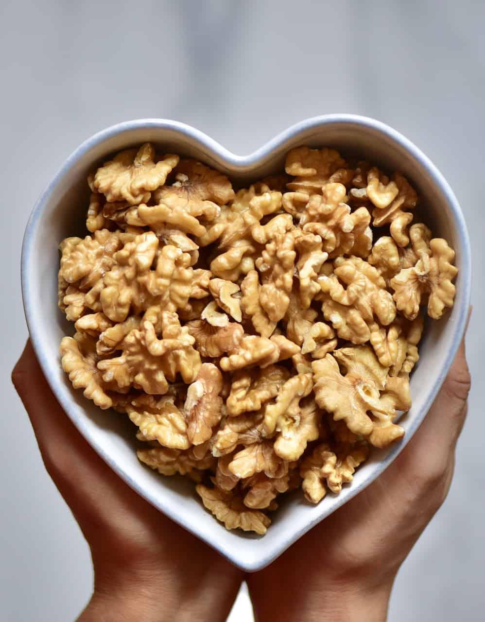 heart bowl full of walnuts