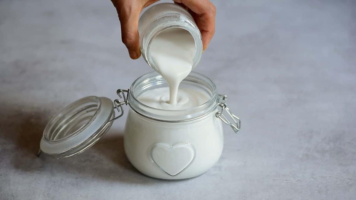 homemade coconut yogurt in a jar