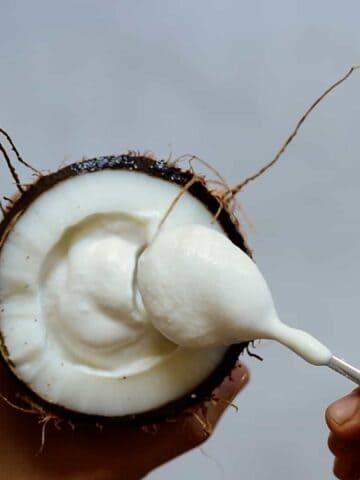 homemade coconut yogurt in a spoon
