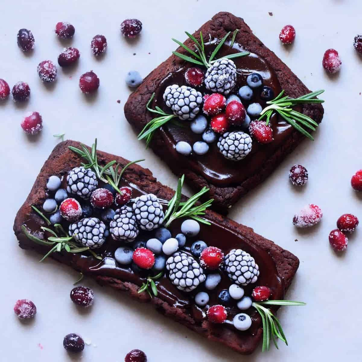 brownies topped with frozen berries