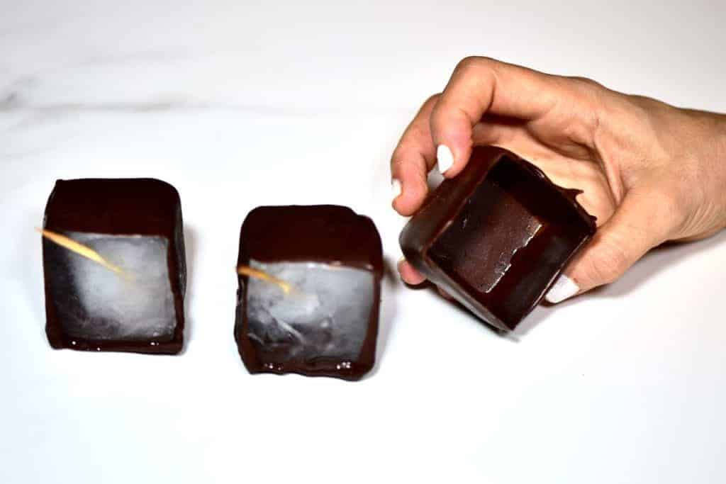 making chocolate cups with ice cubes