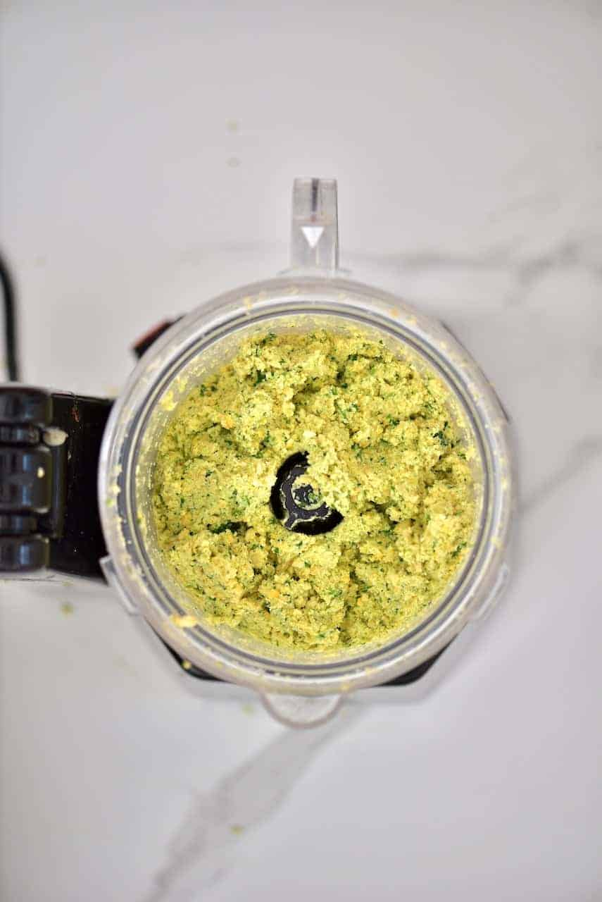 blending homemade traditional falafel in a food processor