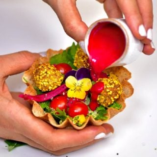 falafel popcorn cup rainbow vegan food