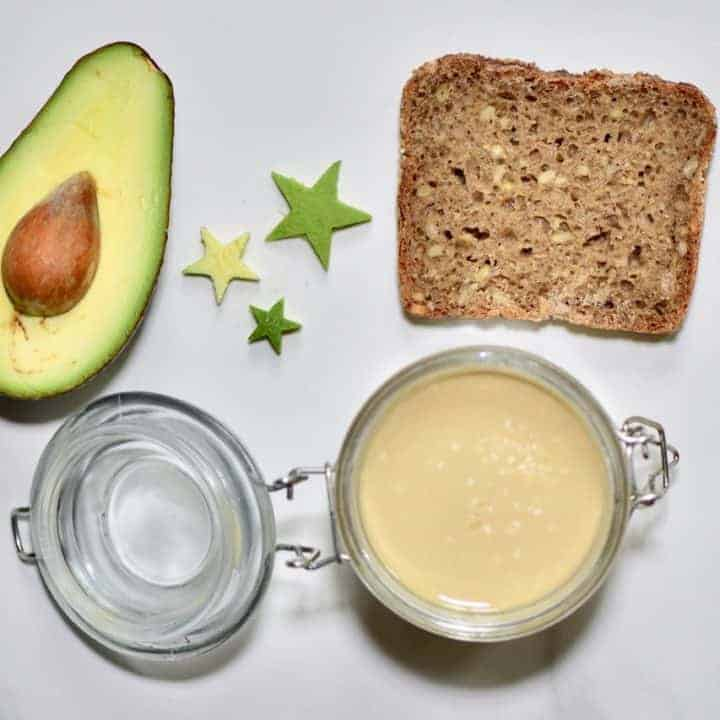 Ingredients for health avocado toast with homemade tahini