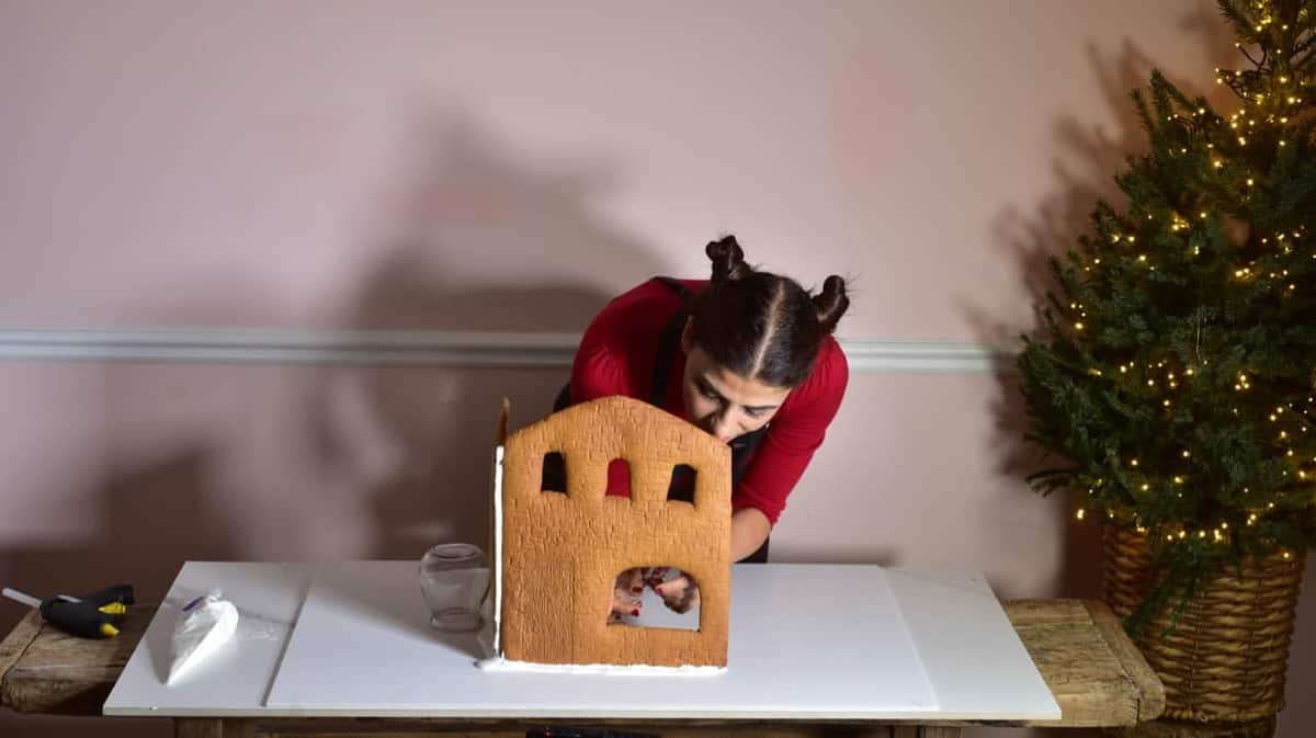 Installing gelatine windows on gingerbread house