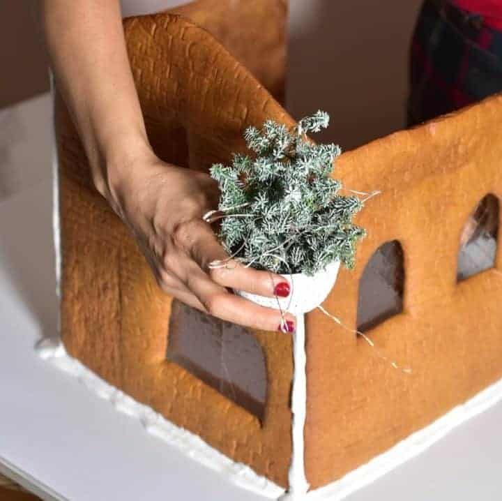 decorating christmas dessert with a tree