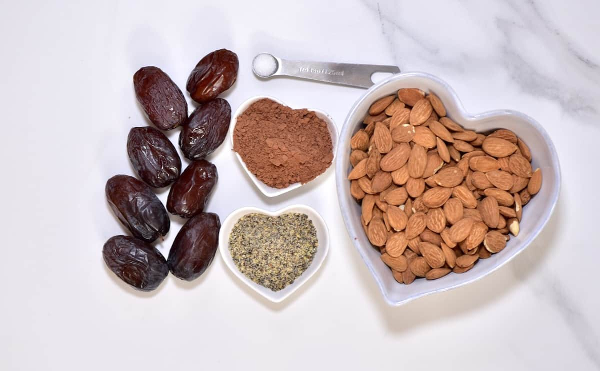 ingredients for cacao and almond healthy energy balls