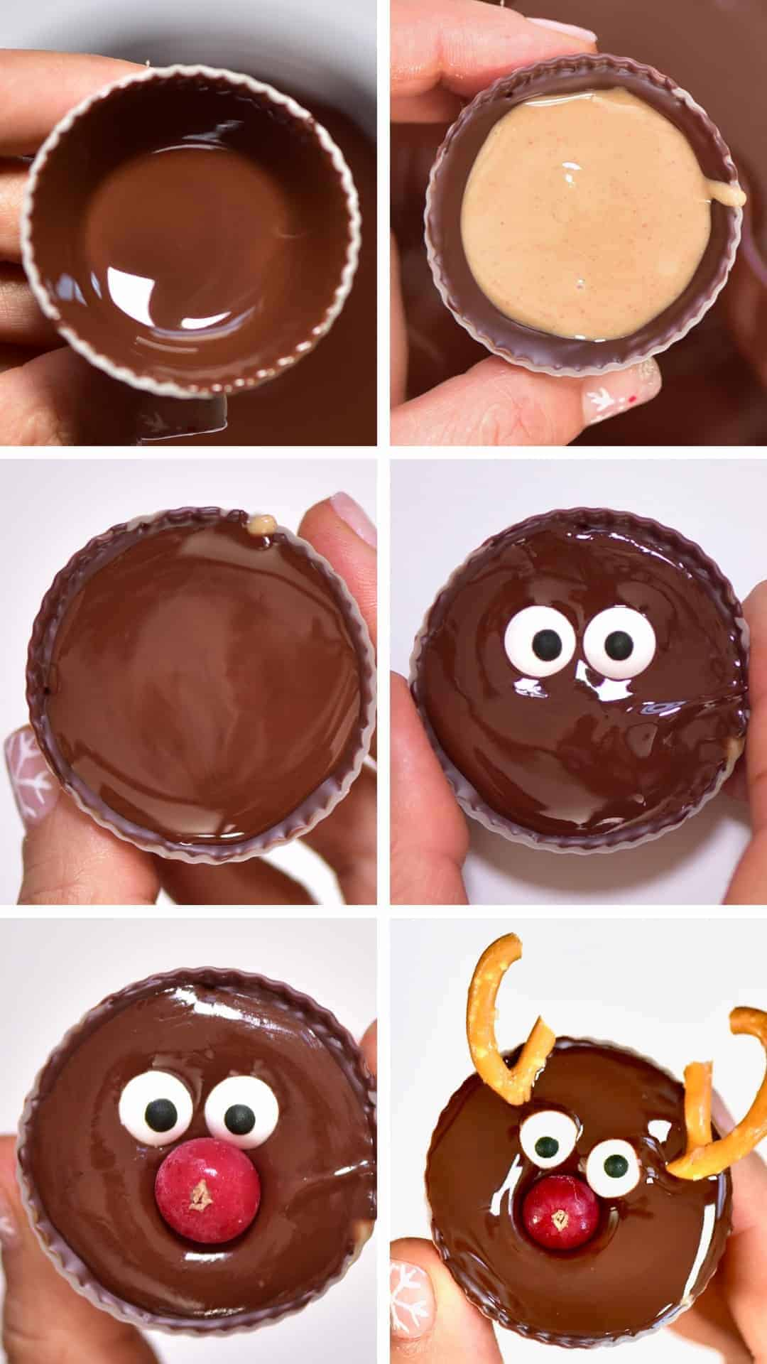 Steps to making Reindeer Chocolate Peanut Butter Cups