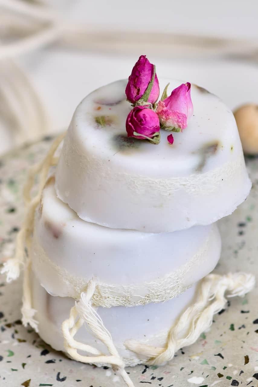 Moisturising coconut milk and rose loofah soaps