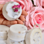 A simple DIY for how to make soap at home with various ingredients and additives, using a melt & pour base recipe. Plus two simple DIY soap recipes including moisturising coconut milk and rose loofah soap and a rose-infused clear soap spheres recipe.
