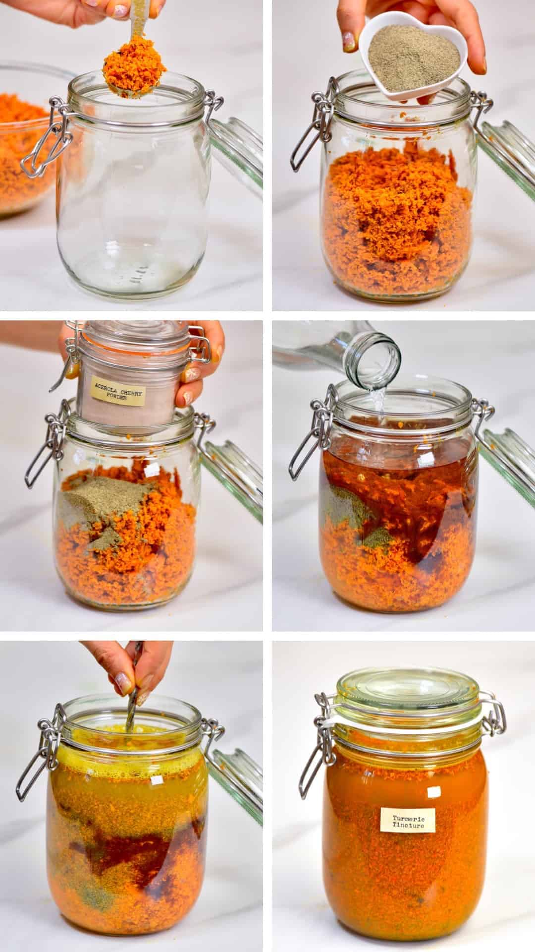 the process of making a homemade turmeric tincture. healthy turmeric natural medicine