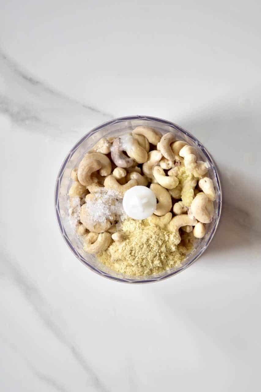 blending vegan cashew cheese
