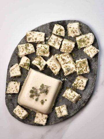 vegan feta cheese chopped into slices