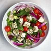 mixed greek salad with vegan feta cheese