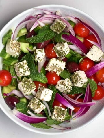 mixed greek salad with vegan feta cheese