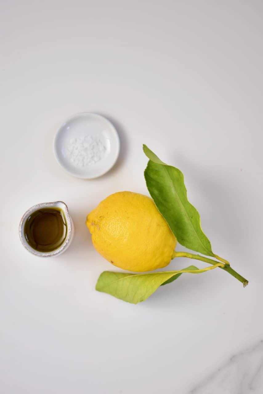 lemon, olive oil and salt for salad dressing