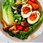 A simple and delicious Japanese-inspired vegetarian ramen noodle soup recipe. Packed with vegetables and plenty of flavour for a satisfying, healthy ramen meal.