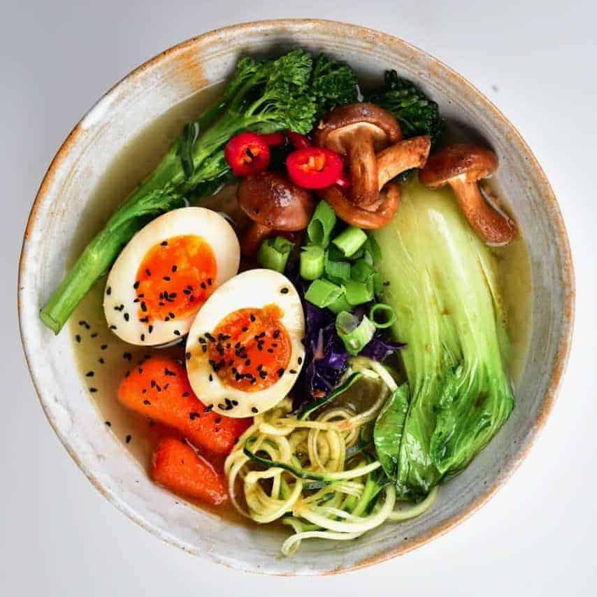 A simple and delicious Japanese-inspired vegetarian ramen noodle soup recipe. Packed with vegetables and plenty of flavour for a satisfying, healthy ramen meal