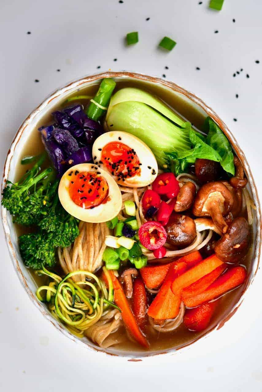 Japanese-inspired vegetarian ramen noodle soup in a bowl