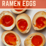 Delicious Soy marinated eggs, perfect for a warming bowl of Ramen soup, for other noodle and rice dishes or even as a snack. A delicious blend of soy sauce, mirin, garlic and ginger for wonderfully sweet and salty, divinely marinated eggs!