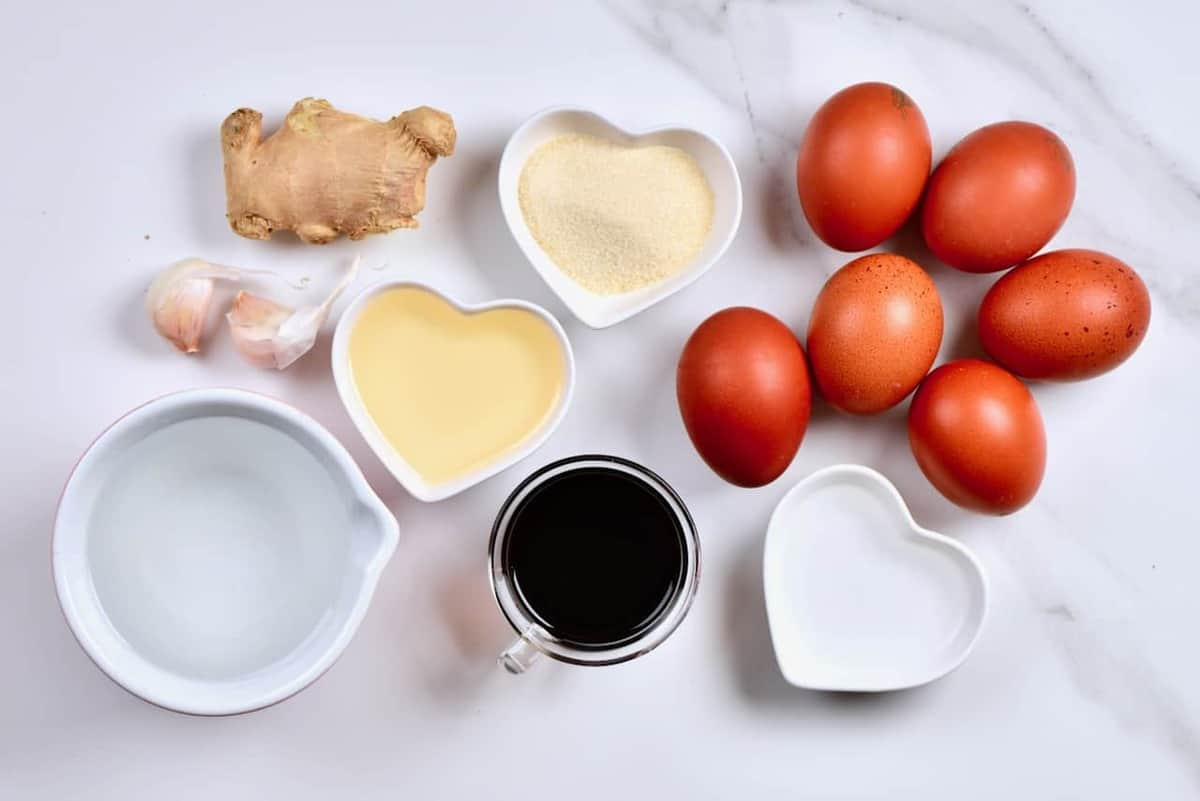 ingredients to make soy marinated eggs