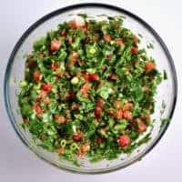 In a bowl, mixed fresh Tabbouleh/tabouli salad