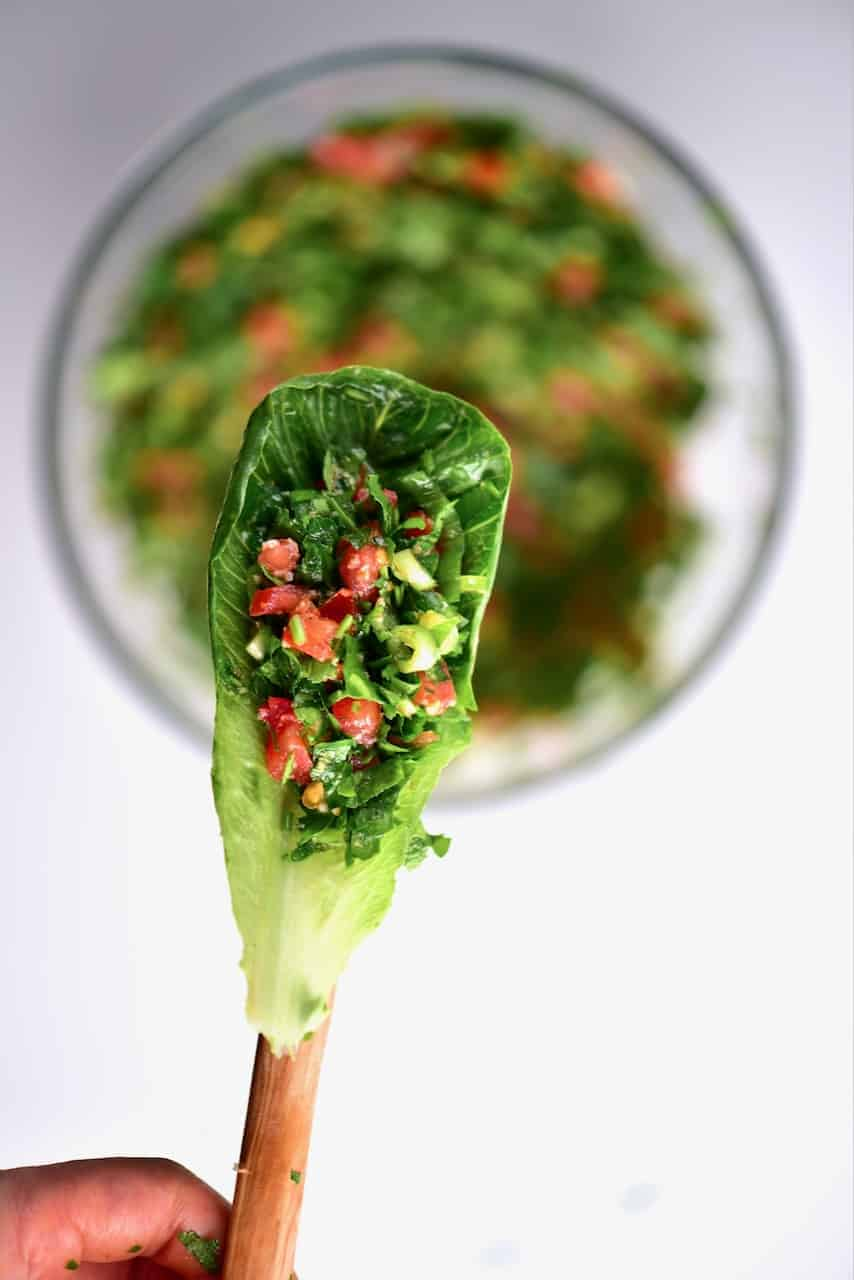 healthy lettuce wrap with homemade tabouli