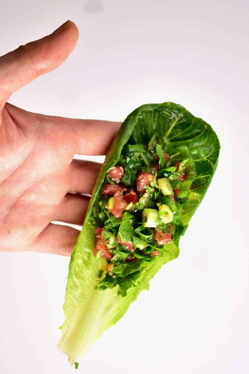 tabouli / tabbouleh salad wrap with lettuce
