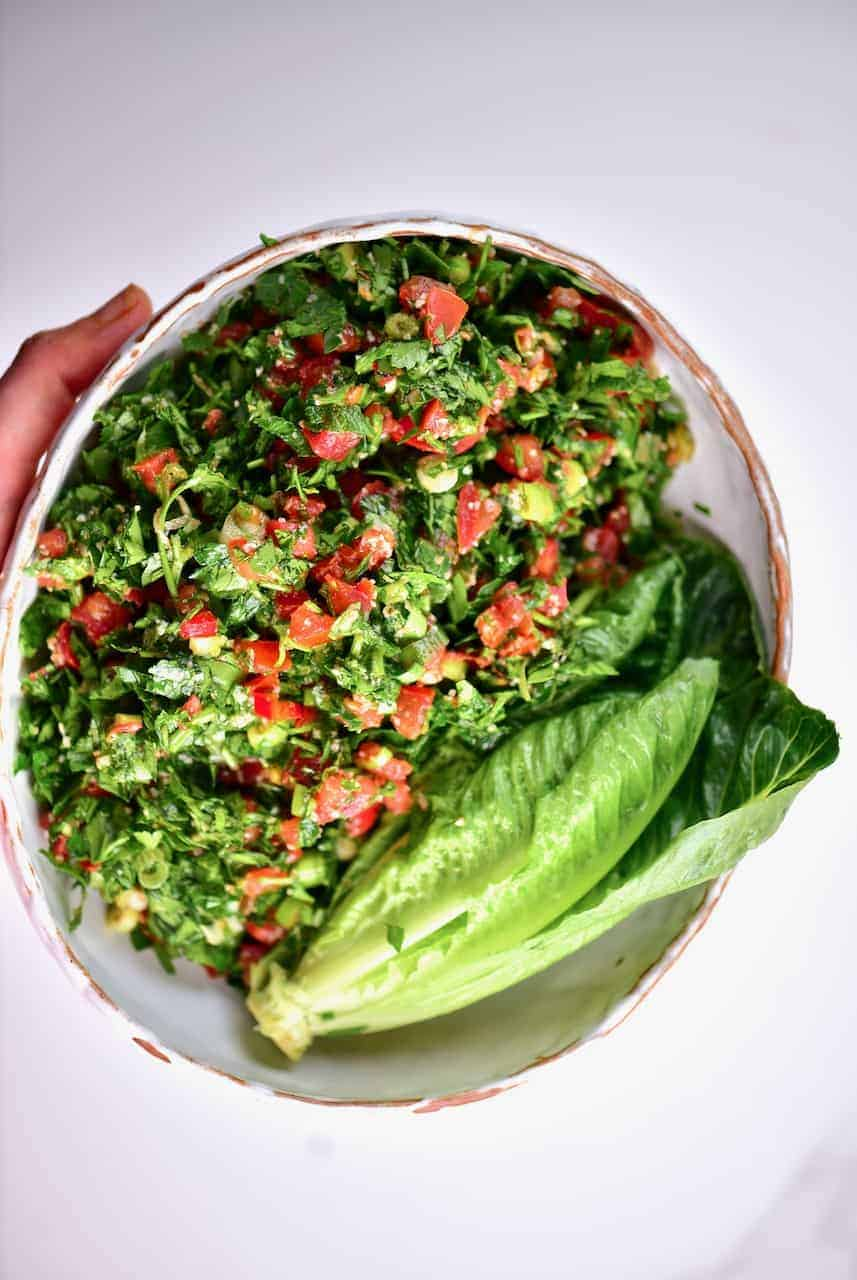 A simple Traditional Tabbouleh Salad (tabouli salad) served in a bowl
