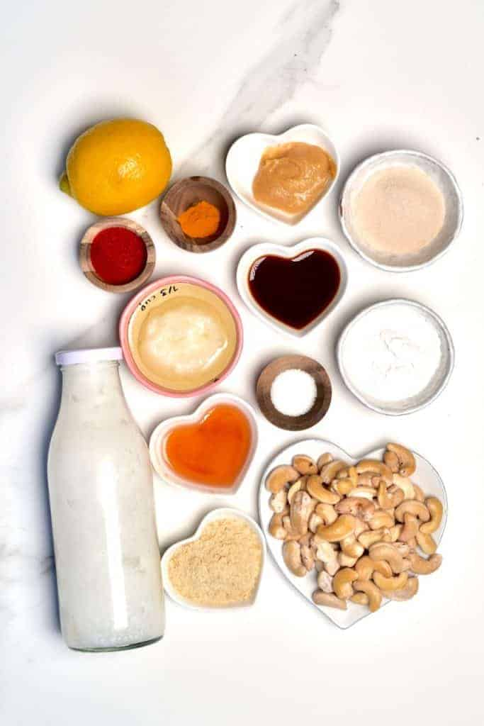 all the ingredients for dairy-free chese recipe