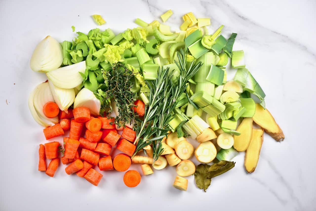 chopped veggies and herbs for homemade stock