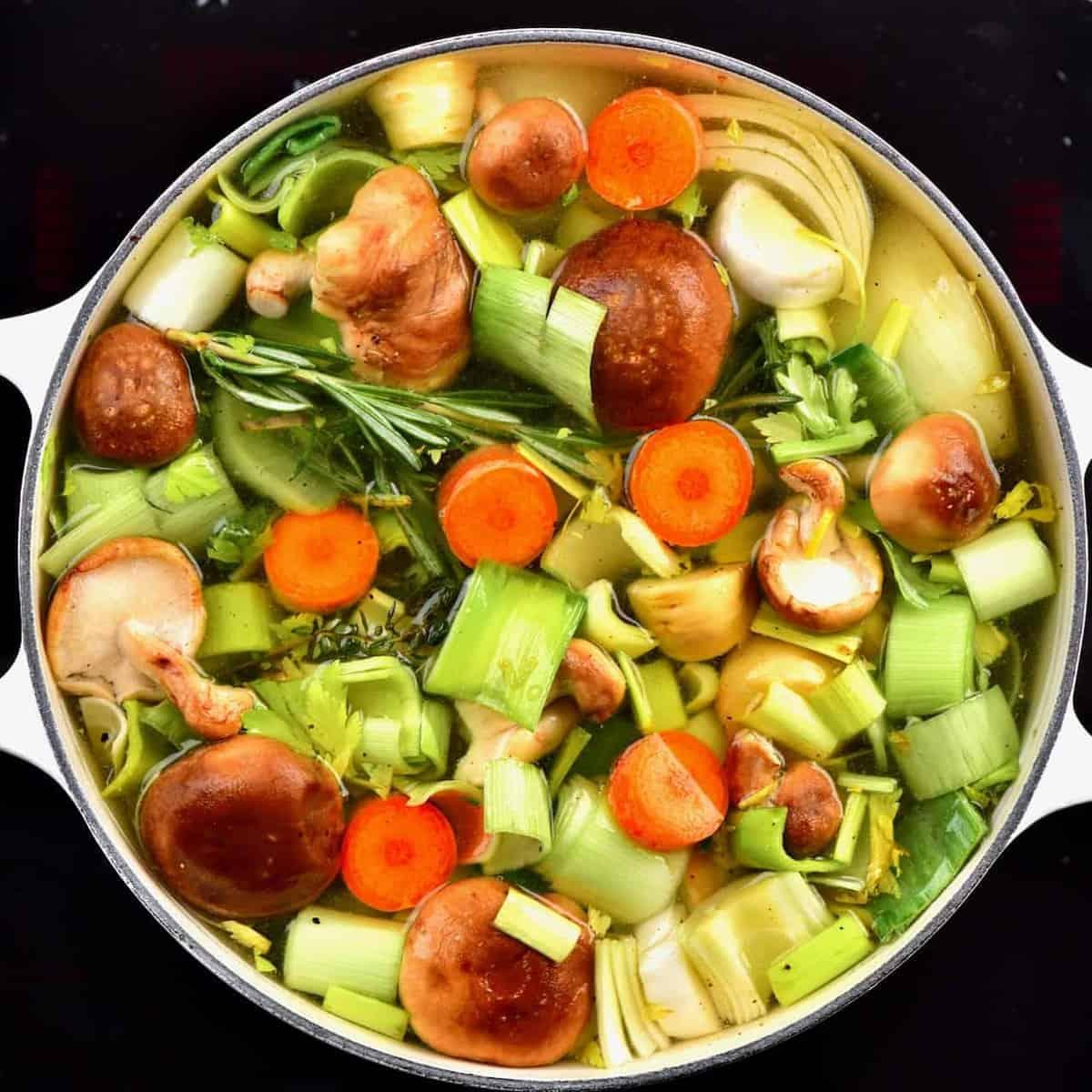 veggies in a large pan