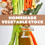 This homemade 1 pot vegetable stock utilises fresh vegetables and/or vegetable scraps to make a delicious homemade vegetable broth that is vegan, gluten-free, salt-free, dairy-free etc.