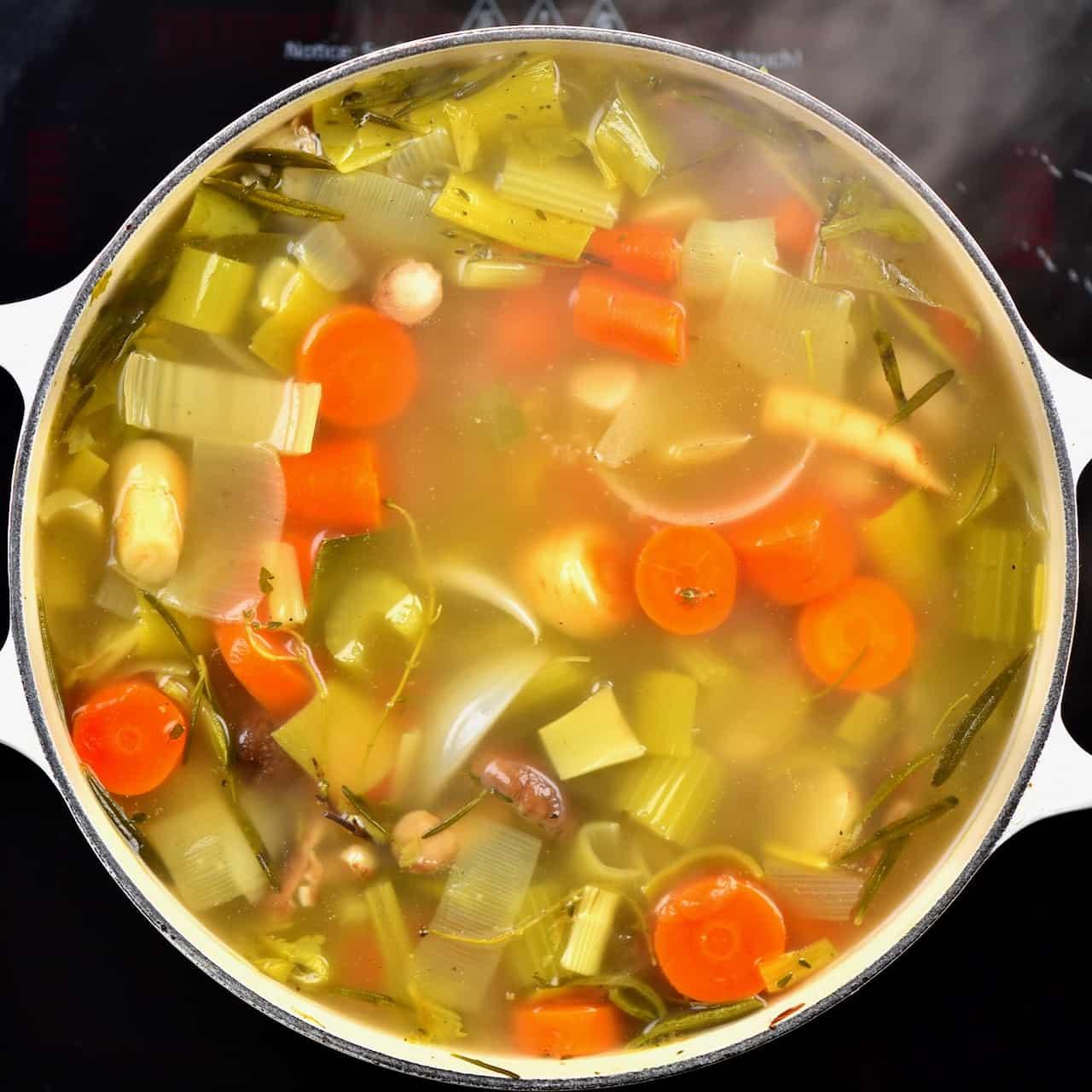 boiling vegetable stock