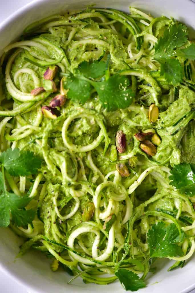 A close up of Zoodles with Pistachio pesto