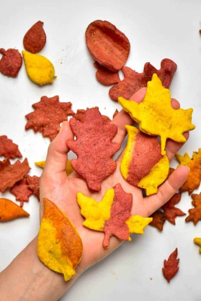A hand and Autumn Leaf Crackers