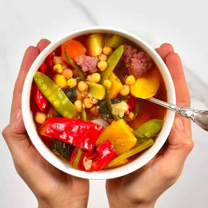 A serving of vegetable chickpea stew