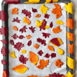 Autumn Leaf Crackers on a baking tray pre baking