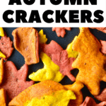 Autumn Leaf Crackers on a black baking tray