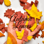 Autumn Leaf Crackers on a hand and some on the table top