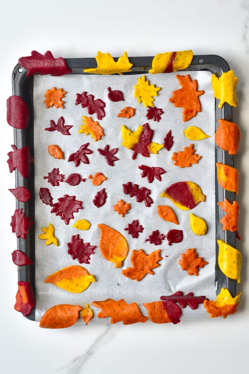 Autumn leaf crackers layed out in a baking tray