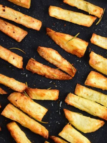 baked fries in a tray