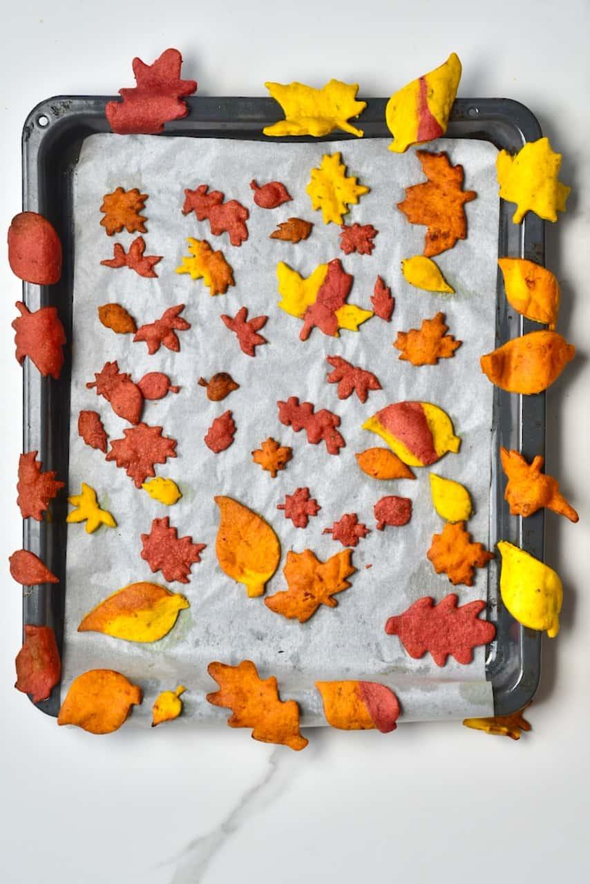 Baked autumn leaf crackers