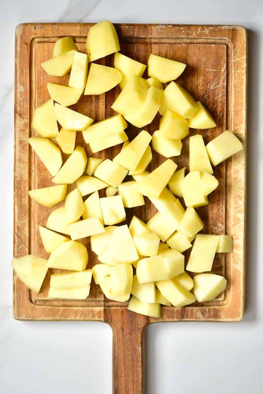 Chopped potatoes for Batata Harrah