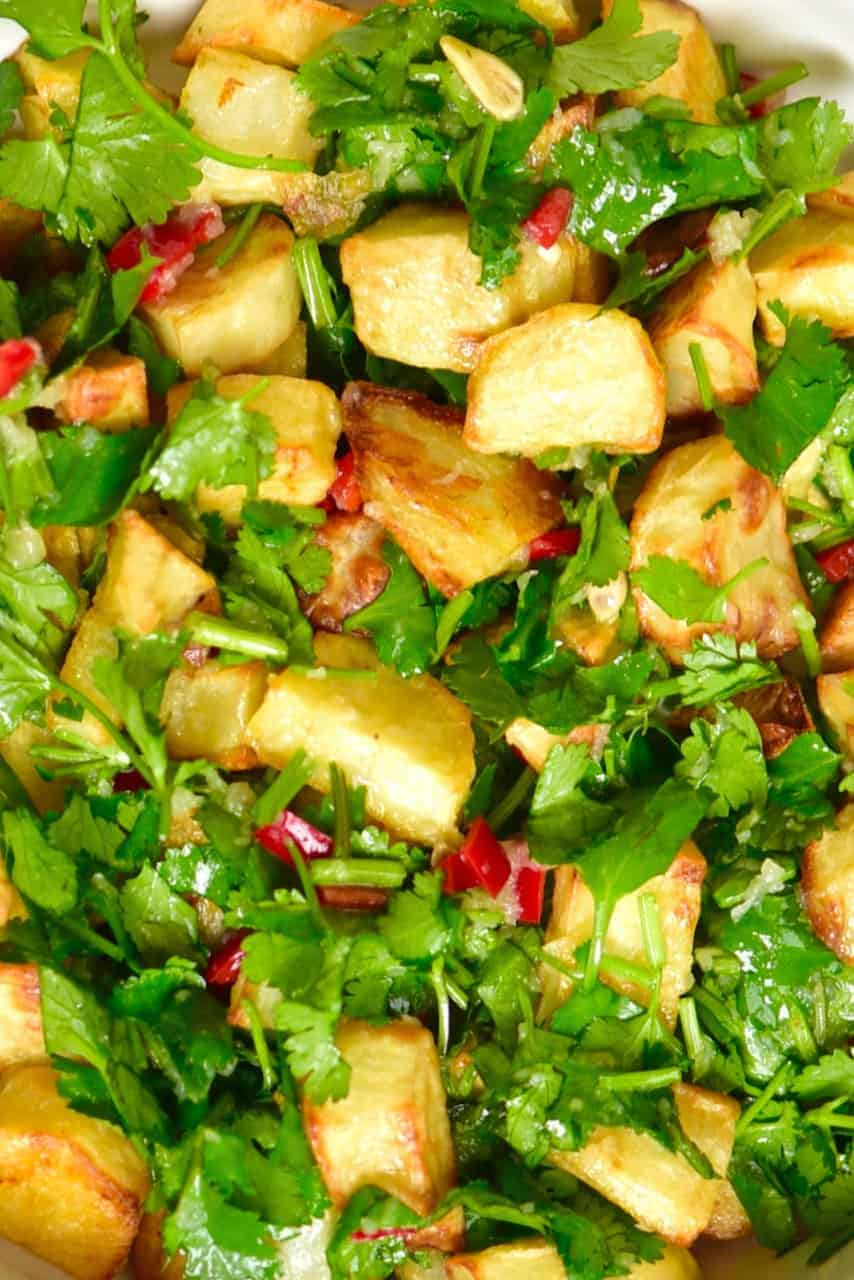Close up of Batata Harrah - Lebanese spicy potatoes,