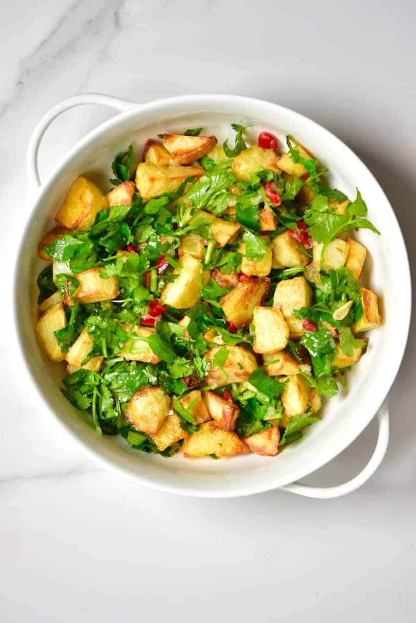 Lebanese spicy potatoes, Batata Harrah served in a dish