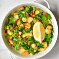 Ready Batata Harrah potato salad and a wedge of lemon