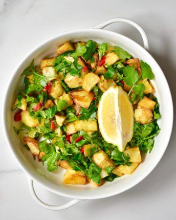 Ready Batata Harrah potato salad and a wedge of lemon